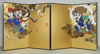 「マリオ&ルイージ図屏風」 (C)Nintendo 作 山本太郎 2015年