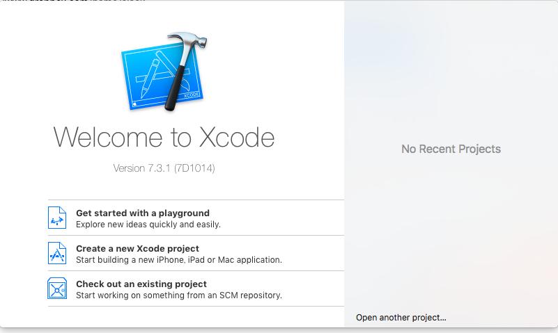 Xcode起動画面