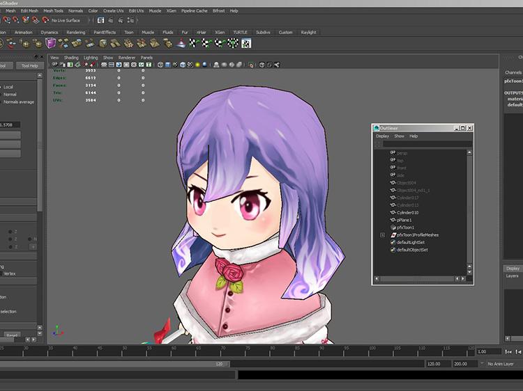 ▲研修ではMayaでのキャラクターモデリングを実践