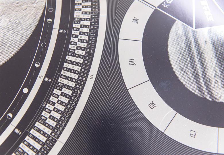 コールドフォイル印刷で作られたカレンダーの一部